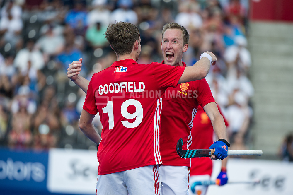England's Barry Middleton celebrates scoring with David Goodfield. England v Argentina - Hockey World League Semi Final, Lee Valley Hockey and Tennis Centre, London, United Kingdom on 18 June 2017. Photo: Simon Parker
