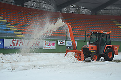 Cleaning the snow two days before match between ND Mura 05 and NK Olimpija in 22th Round of Prva liga NZS 2012/13, on March 1, 2013 in Fazanerija, Murska Sobota, Slovenia. (Photo by Ales Cipot / Sportida)