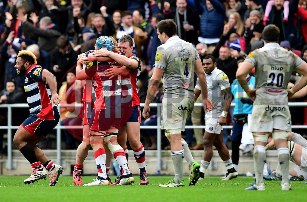 Bristol Rugby players celebrate on the final whistle  - Mandatory by-line: Joe Meredith/JMP - 26/02/2017 - RUGBY - Ashton Gate - Bristol, England - Bristol Rugby v Bath Rugby - Aviva Premiership