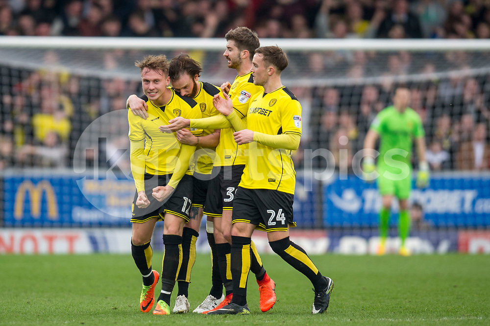 Cauley Woodrow of Burton Albion celebrates his goal with team mates during the EFL Sky Bet Championship match between Burton Albion and Nottingham Forest at the Pirelli Stadium, Burton upon Trent, England on 11 March 2017. Photo by Matthew Buchan.
