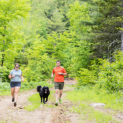 A man and woman trail running with their dog in the new Bethel Community Forest in Bethel, Maine.