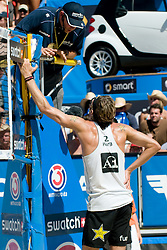 Matt Fuerbringer of USA talking to referee at A1 Beach Volleyball Grand Slam tournament of Swatch FIVB World Tour 2010, final, on August 1, 2010 in Klagenfurt, Austria. (Photo by Matic Klansek Velej / Sportida)