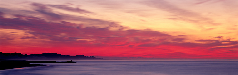 Port Alfred Red Sunrise with mountains and beach