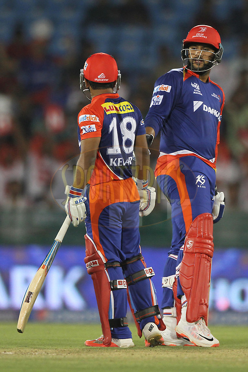 Kedar Jadhav with Saurabh Tiwary of the Delhi Daredevils  during match 45 of the Pepsi IPL 2015 (Indian Premier League) between The Delhi Daredevils and the Sunrisers Hyderabad held at the Shaheed Veer Narayan Singh International Cricket Stadium in Raipur, India on the 9th May 2015.<br /> <br /> Photo by:  Deepak Malik / SPORTZPICS / IPL