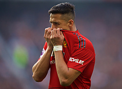 MANCHESTER, ENGLAND - Sunday, February 24, 2019: Manchester United's Alexis Sánchez looks dejected during the FA Premier League match between Manchester United FC and Liverpool FC at Old Trafford. (Pic by David Rawcliffe/Propaganda)