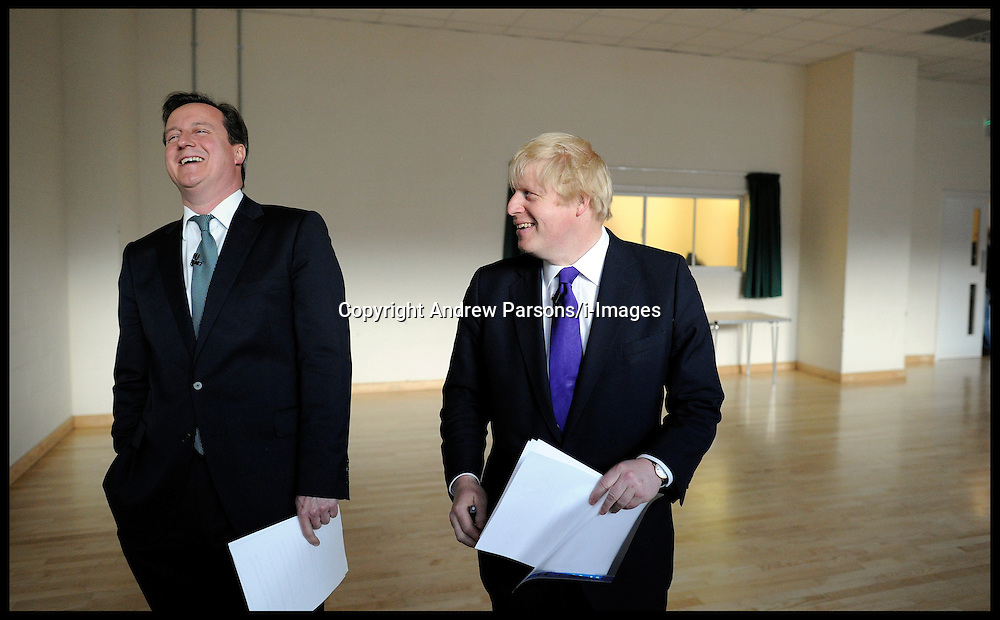 London Mayor Boris Johnson and The Prime Minister David Cameron during a rally in Orpington, London, during the Mayoral Campaign, Tuesday April 17, 2012. Photo By Andrew Parsons/I-images