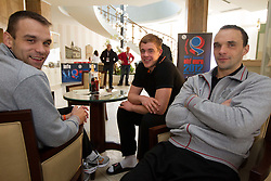 Matjaz Brumen, Matej Gaber and Peter Pucelj of Slovenia Men Handball team during 3rd day of 10th EHF European Handball Championship Serbia 2012, on January 17, 2012 in Hotel Srbija, Vrsac, Serbia.  (Photo By Vid Ponikvar / Sportida.com)