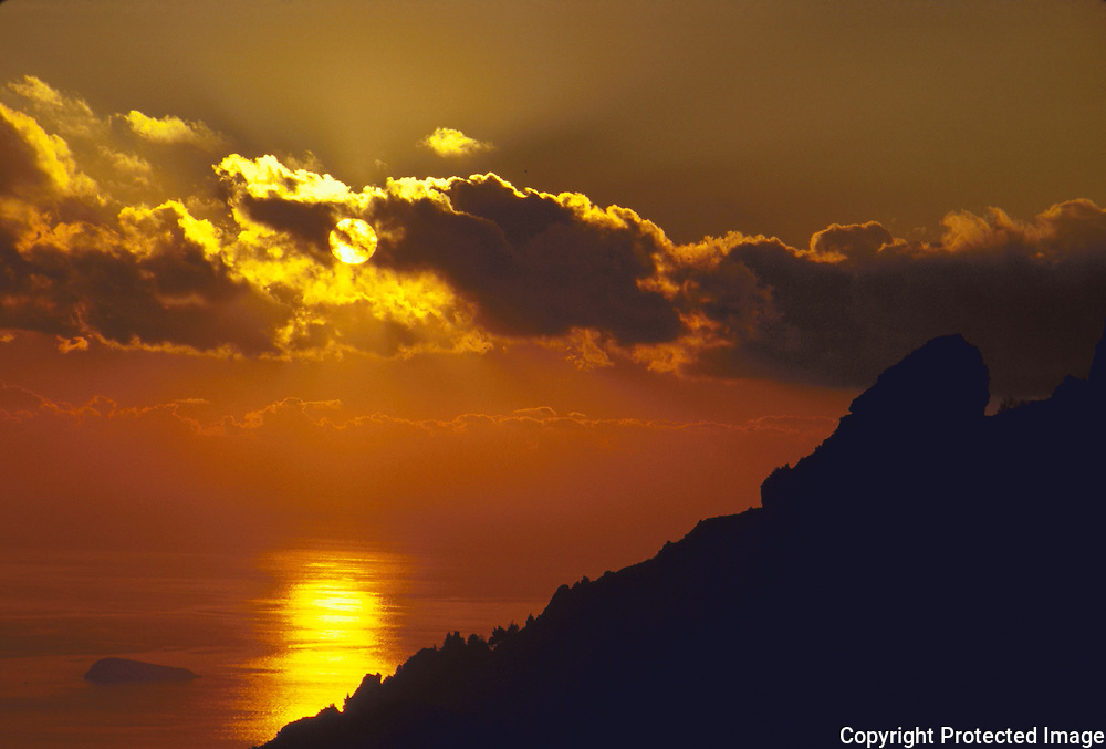 Sunset in Montepertuso above Positano, from the Buco di Montepertuso with Li Galli, originally named Le Sirenuse after the sirens of the Odyssey fame in the sea in front of Positano
