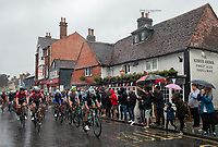 The peloton passes through Dorking for the first time. The Prudential RideLondon Classic. Sunday 29th July 2018<br /> <br /> Photo: Thomas Lovelock for Prudential RideLondon<br /> <br /> Prudential RideLondon is the world's greatest festival of cycling, involving 100,000+ cyclists - from Olympic champions to a free family fun ride - riding in events over closed roads in London and Surrey over the weekend of 28th and 29th July 2018<br /> <br /> See www.PrudentialRideLondon.co.uk for more.<br /> <br /> For further information: media@londonmarathonevents.co.uk