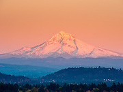 Mount Hood 3,426 m / 11,239 ft from Mount Tabor Park, Portland, Oregon, USA.