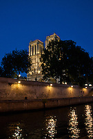 Paris, Notre Dame - river Seine reflections at night