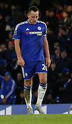 Chelsea defender John Terry looking relieved and tired after his late equaliser during the Barclays Premier League match between Chelsea and Everton at Stamford Bridge, London, England on 16 January 2016. Photo by Andy Walter.