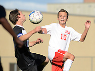 LANGHORNE, PA - SEPTEMBER 22: Central Bucks South's Danny Remick #15 and Neshaminy's Dan Grindrod #10 battle for control of the soccer ball in the first half September 22, 2014 in Langhorne, Pennsylvania. (Photo by William Thomas Cain/Cain Images)