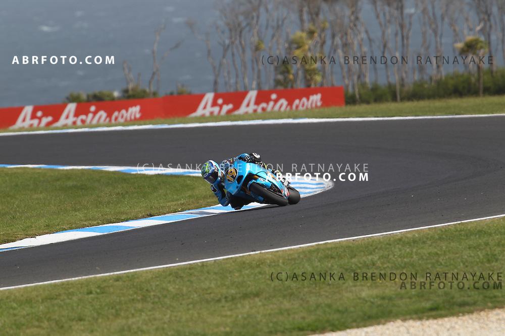 16 October 2011: Alvaro Bautista (19) riding the Rizla Suzuki turns into turn 8 during the IVECO Australian MotoGP Grand Prix at the Phillip Island Circuit in Phillip Island, Victoria, Australia.