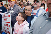 "Apr. 15, 2009 -- PHOENIX, AZ: Some of the crowd during the ""Tea Party"" at the Arizona State Capitol in Phoenix Wednesday. Nearly 10,000 people attended the rally, which was supposed to be in opposition to the Obama economic plan but turned into a general anti-Obama rally.  Photo by Jack Kurtz"