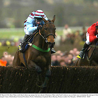 18 March 2004; Best Mate, with Jim Culloty up, jumps the last ahead of Harbour Pilot, with Paul Carberry up, on their way to winning the totesport Cheltenham Gold Cup Steeple Chase. Cheltenham Festival, Prestbury Park, Cheltenham, England. Horse Racing. Picture credit; Pat Murphy / SPORTSFILE *EDI*