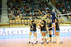 Players of Calcit Ljubljana celebrate during the volleyball match between Calcit Ljubljana and PGE Atom Trefl Sopot at 2016 CEV Volleyball Champions League, Women, League Round in Pool B, 1st Leg, on October 29, 2016, in Hala Tivoli, Ljubljana, Slovenia.  (Photo by Matic Klansek Velej / Sportida)