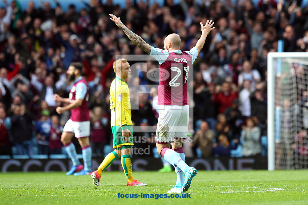 Alan Hutton of Aston Villa celebrates his side&rsquo;s 1st goal during the Sky Bet Championship match at Villa Park, Birmingham<br /> Picture by Paul Chesterton/Focus Images Ltd +44 7904 640267<br /> 01/04/2017