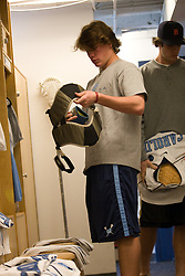 22 March 2008: North Carolina Tar Heels defenseman Kevin Piegare (38) in the locker room before playing the Maryland Terrapins at Fetzer Field in Chapel Hill, NC.