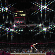 Victoria Komova, Russia, in action during the Women's Gymnastics Apparatus Beam final at North Greenwich Arena during the London 2012 Olympic games London, UK. 7th August 2012. Photo Tim Clayton