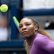 2019 US Open Tennis Tournament- Day Five.  Serena Williams of the United States hits autographed balls in to the crowd after her win against Carolina Muchova of the Czech Republic in the Women's Singles Round Three match on Arthur Ashe Stadium at the 2019 US Open Tennis Tournament at the USTA Billie Jean King National Tennis Center on August 30th, 2019 in Flushing, Queens, New York City.  (Photo by Tim Clayton/Corbis via Getty Images)