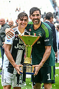 Paulo Dybala and Gianluigi Buffon of Juventus celebrate winning the 2018 Serie A title after the Italian championship Serie A football match between Juventus and Hellas Verona on May 19, 2018 at Allianz stadium in Turin, Italy - Photo Morgese - Rossini / ProSportsImages / DPPI