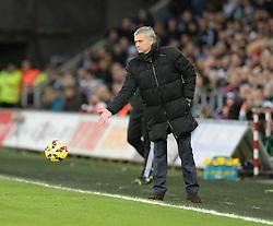 Chelsea Manager, Jose Mourinho passes the ball back to swansea. - Photo mandatory by-line: Alex James/JMP - Mobile: 07966 386802 - 17/01/2015 - SPORT - football - Swansea - Liberty Stadium  - Swansea  v Chelsea  -