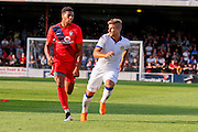 Vadaine Oliver & Gaetano Berardi during the Friendly match between York City and Leeds United at Bootham Crescent, York, England on 15 July 2015. Photo by Simon Davies.