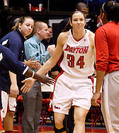 UD senior Justine Raterman (34) is announced as Rhode Island Rams plays the University of Dayton Flyers at UD Arena in Dayton, Saturday, January 7, 2012.