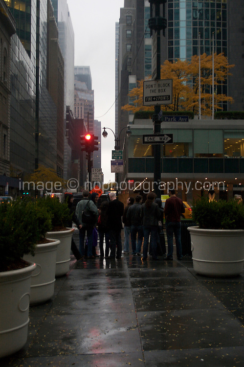 Midtown Manhattan street in the evening time autumn New York