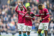 Pedro Obiang (West Ham), Arthur Masuaku (West Ham) and Issa Diop (West Ham) thanking the West Ham FC supporters following the Premier League match between Tottenham Hotspur and West Ham United at Tottenham Hotspur Stadium, London, United Kingdom on 27 April 2019.