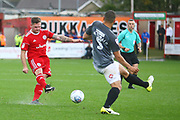 Accrington Stanley's Billy Kee (29) shoots during the EFL Sky Bet League 2 match between Accrington Stanley and Coventry City at the Fraser Eagle Stadium, Accrington, England on 14 October 2017. Photo by John Potts.