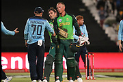 Rassie van der Dussen shakes the hand of debutant Matthew Parkinson during the One Day International match between South Africa and England at PPC Newlands, Capetown, South Africa on 4 February 2020.