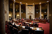 Wisconsin Republican State Senators convene without the Democrats on February 23, 2011 in Madison, Wisconsin.