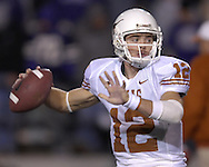 University of Texas quarterback Colt McCoy drops back to pass against Kansas State in the first quarter at Bill Snyder Family Stadium in Manhattan, Kansas, November 11, 2006.  The Wildcats upset 4th ranked Texas 45-42.<br />