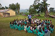 At Nyamiyaga primary school Bwindi community hospital run health outreach programs. Rev Sam, the head of community health works with the children on health issues using song and dance. They cover 32 primary schools and 5 secondary schools in the region.