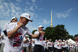 July 21, 2017 - Saint-Petersburg, Russia - Of The Russian Federation. Saint-Petersburg. Peter and Paul fortress. Open training in honor of Russian Boxing in the territory of the fortress. Installation record of 6 thousand people. Boxing. (Credit Image: © Russian Look via ZUMA Wire)