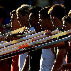 Pole vaulters are announced during the CIF California State Track & Field Championships at Veteran's Memorial Stadium on the campus of Buchanan High School in Clovis, Calif., on Saturday, June 7, 2014.