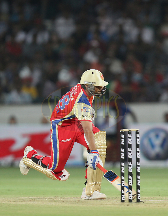 Virat Kohli of Royal Challengers Bangalore take a run  during match 11 of the Indian Premier League ( IPL ) between the Deccan Chargers and the Royal Challengers Bangalore held at the Rajiv Gandhi International Cricket Stadium in Hyderabad on the 14th April 2011...Photo by Parth Sanyal/BCCI/SPORTZPICS