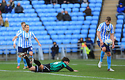 Niall Canavan diving header cleared during the Sky Bet League 1 match between Coventry City and Rochdale at the Ricoh Arena, Coventry, England on 5 March 2016. Photo by Daniel Youngs.