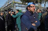 Terni, Italy 4 febbraio 2004: Assemblea sindacale dei lavoratori dell'acciaieria Acciai Speciali Terni  all'interno dello stabilimento.