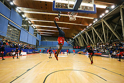 Fred Thomas of Bristol Flyers slam dunking during the warm up - Photo mandatory by-line: Arron Gent/JMP - 28/09/2019 - BASKETBALL - Crystal Palace National Sports Centre - London, England - London City Royals v Bristol Flyers - British Basketball League Cup