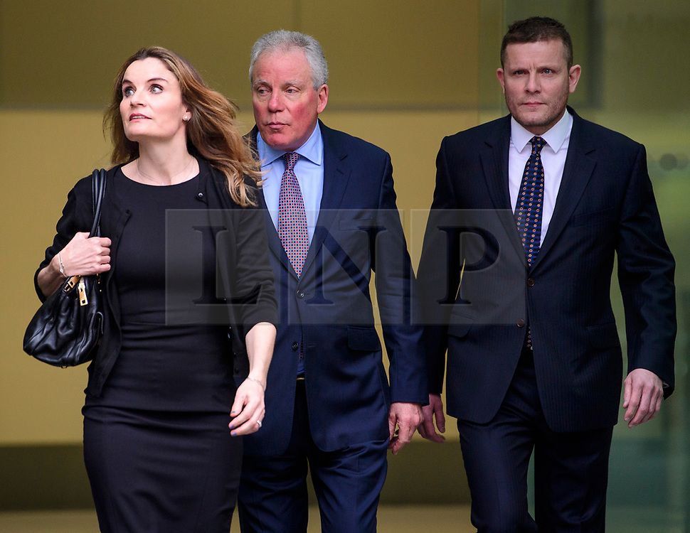 © Licensed to London News Pictures. 14/03/2017. London, UK. GORDON Ramsay's father-in-law CHRIS HUTCHESON (C), his daughter ORLANDA BUTLAND (C) and his son ADAM HUTCHESON (R) leave Westminster Magistrates Court in London where they faced charges relating to hacking in to the celebrity chefs computer. Hutcheson, 68, is accused of conspiracy to access Ramsay's PC after a fall-out when the TV cook fired him as chief executive of his business. Photo credit: Ben Cawthra/LNP