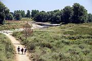 Nederland, Nijmegen, 23-7-2018De waterstand in de rivier de Waal is laag. Woonboten in een rivierarm in de buurt van de stad liggen op het droge of vallen bijna droog. Binnenvaartschepen nemen minder lading, vracht in en moeten goed in de vaargeul blijven.Foto: Flip Franssen