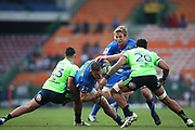 Jacobus Wiese of the Stormers attempts to get past Thomas Umaga-Jensen of the Highlanders and Shannon Frizell of the Highlanders during the 2019 Super Rugby game between the Stormers and the Highlanders at Newlands Rugby Stadium in Cape Town on 25 May 2019 © Shaun Roy/BackpagePix