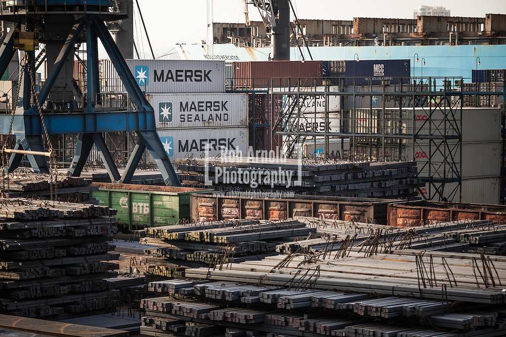 Industrial scenes. Steel and shipping containers on the quayside in the Russian Black Sea port of Novorossiysk