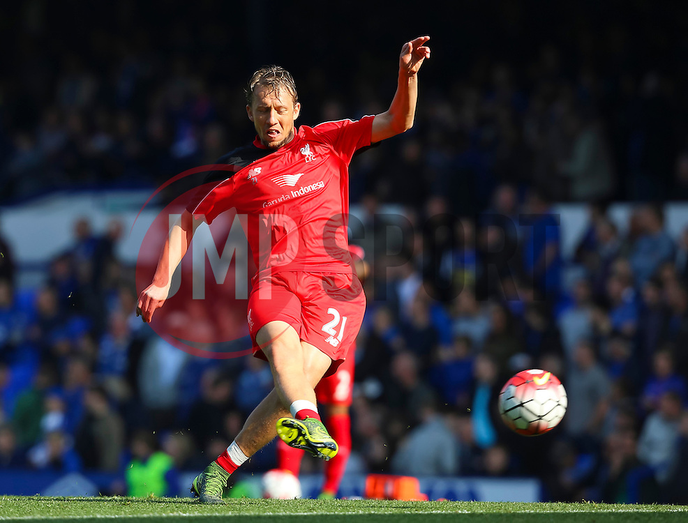 Lucas Leiva of Liverpool warms up - Mandatory byline: Matt McNulty/JMP - 07966 386802 - 04/10/2015 - FOOTBALL - Goodison Park - Liverpool, England - Everton  v Liverpool - Barclays Premier League