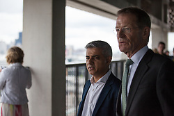 © Licensed to London News Pictures. 14/06/2016. London, UK. Mayor of London Sadiq Khan and Sir Nicholas Serota, Director of the Tate Galleries, visit the viewing platform of the Switch House, the new Tate Modern building which opens to the public on Friday 17 June 2016. The ten-storey extension was designed by architects Herzog & de Meuron and includes the world's first gallery space dedicated exclusively to live art, film and installations. Photo credit: Rob Pinney/LNP