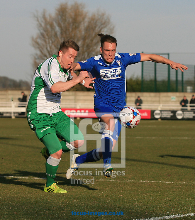 Nathan Jarman of North Ferriby United A.F.C. battles with Lee Smith (right) of Lowestoft Town during the Conference North match at Grange Lane, North Ferriby<br /> Picture by Richard Gould/Focus Images Ltd +44 7855 403186<br /> 07/03/2015