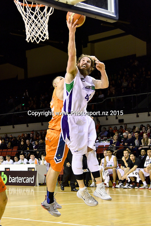 Casey Frank (R of the Super City Rangers jumps to shoot with Duane Bailey of the Southland Sharks during the NBL semi final basketball match between Southland and Super City Rangers at the TSB Arena in Wellington on Saturday the 4th of July 2015. Copyright photo by Marty Melville / www.Photosport.nz